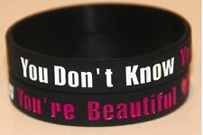 ONE DIRECTION 1D 'you're beautiful' Black wristband bracelet *SAME DAY POST