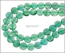 Blue Green Fluorite Coin Round Beads 8mm Grade A #85355