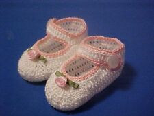 CROCHET HANDMADE BABY GIRL DOLL BOOTIES SHOES WHITE & PINK MJ  PINK ROSE