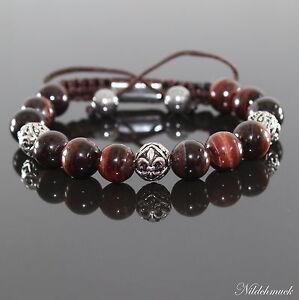 Herren Red Tiger Auge Shamballa Armband  Armreifen mit Antik Beads für Männer