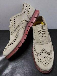 Cole Haan Beige Tan Zerogrand Suede Oxford Brogue Wingtip Shoes Mens Size 7.5