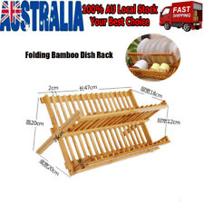 2-Tiers Bamboo Foldable Kitchen Drying Bowl Holder Dish 20 Rack Plate