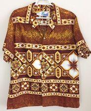 Vintage Hawaiian Shirt Men's Large Tiki Polynesian Mcm Print