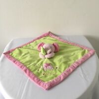 Just One Year Green Pink Elephant Baby Comforter Blankie Doudou Soother