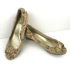 "COLE HAAN AIR ""Elsie"" Beige Snake Print Leather Peep Toe Cork Wedges Size 7.5 B"