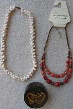 Conch Seashell Necklace, Sonoma Double-Stranded Necklace, and Wooden Jewelry Box