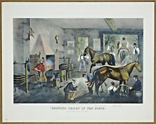 Currier and Ives Trotting Cracks at the Forge Rare Vintage Collotype Litho