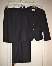 MAX MARA Dark Gray Pinstripe Wool Blend 3 Piece Suit Blazer 10 Skirt 10 Pants 8