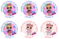 24 Large Personalised Party Bag Stickers LOL Dolls Sweet Bag Seals 63mm Labels