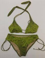 Victorias Secret Triangle Bikini 2 Piece Swimsuit Small Green Floral Halter