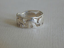 Sterling Silver Marching Elephants Band Ring Sz 7.75