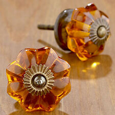 12 pc. Glass door knob cupboard drawer puller Handle Furniture Cabinetknob amber