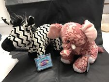 2 Webkinz - ZIG ZAG ZEBRA & BATIK ELEPHANT - NEW W/SEALED CODES
