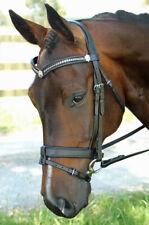 New Leather Horse Bridle S/S Clincher V, Flat Converter Crank, Black/Havana