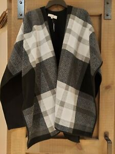 New Talbots Womens Fleece Blanket Shawl One Size Black And White