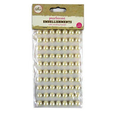 70 Pack 10mm Pearlescent Embellishment Self Adhesive Pearl Decoration Cabochons