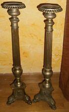 """2 pique-cierge tripode en bronze """" Christ Sainte marie et Saint """" pattes de lion"""