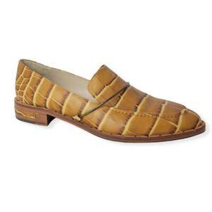 NEW Freda Salvador Light Halo Loafer Tan Crocodile Women's 8.5 MSPR $395