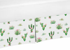 Pink Green Boho Watercolor Cactus Floral Girl Pleated Crib Bed Skirt Dust Ruffle