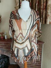 BROWN MIX SWIRL SHEER TUNIC  TOP FROM  M&S  - SIZE 18 -SUMMER HOLIDAY BEACH