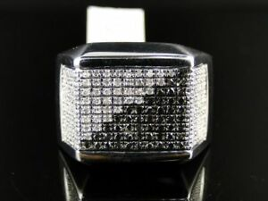 White & Black Stone Studded White Plated Engagement Ring For Men In 925 Silver