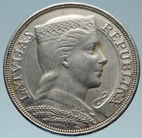1929 LATVIA w Female Headwear 5 Lati LARGE Vintage Silver European Coin i82931