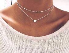 NEW BOHO SILVER GOLD TONE BEADED HEART TWO PART CHOKER NECKLACE - UK SELLER