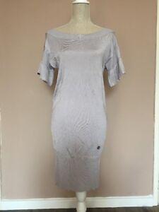 Karen Millen Light Silver Grey Sweater Ruffle Short Bodycon Sleeve Dress Size 1