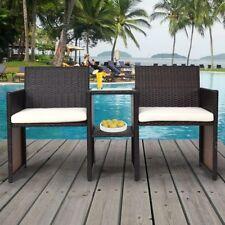 Brown Patio Rattan Wicker Conversation Cushioned Seat Sofa Set Chairs Tea Table
