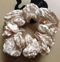 A Deep Ivory Crinkled Satin Hair Scrunchie Ponytail Band / Bobble
