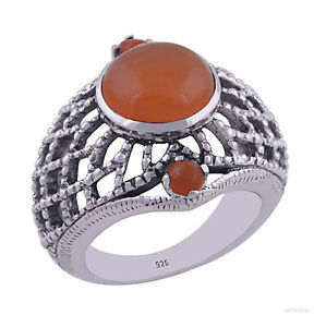 Ring 925 Silber - Silberring mit Karneol Damenring Fingerring Herrenring rot neu