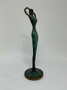 21.5cm Brass Cubist Modernist Sculpture Figurine of a Woman Stretching