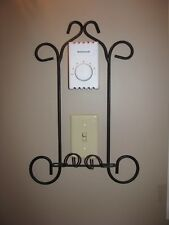 Plate Rack, Wall Mount display holder, 1 plate, Wrought Iron style, Black