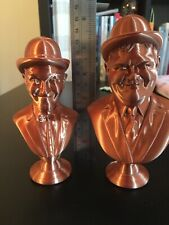 Detailed 3D Printed Bust Statue Figurine Copper PLA Of Laurel And hardy