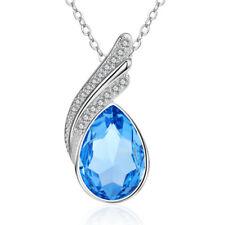 925 Sterling Silver Sapphire Pendant Necklace Angel Wings Shape For Women