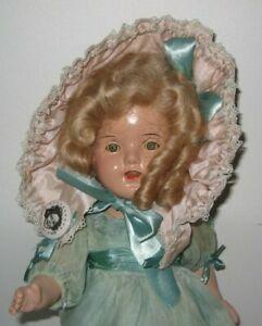 "Cute 1930's Shirley Temple Look-a-like Composition Doll 14"" tall #DE151"