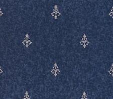 Smita Tapete Odea 46604 Ornamento Barroco Azul Oscuro Plata Vinilo
