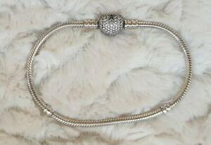 Authentic Pandora Pave HEART MOMENTS Charm bracelet 19.5cm clip Silver ALE