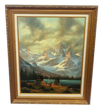 HEINIE HARTWIG MOUNTAIN LANDSCAPE OIL PAINTING INDIAN CAMP TEEPEES LISTED ARTIST