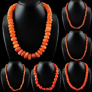 Natural Single Strand Orange Carnelian Mixed Shape Beads Handmade Necklace