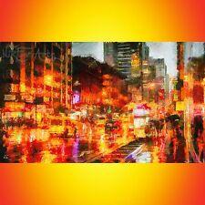 NIK TOD RECREATED FROM ORIGINAL PAINTING LARGE ART URBAN RAINING NIGHT IN CITY