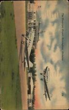 Birmingham AL Municipal Airport & Airplanes Linen Postcard