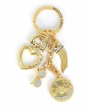 Juicy Couture SUNGLASS CLUSTER Key Fob Travel Heart Chain Gold-Tone Crystal NWT