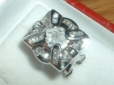 FANTASTIC LARGE CZ EARRINGS ~PRINCESS & BAGETTES OMEGA FASTENING TOP QUALITY