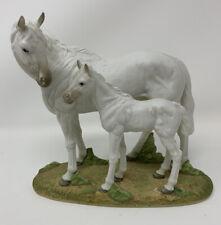 Andrea By Sadek Double White Horses Mare Foal Figurine