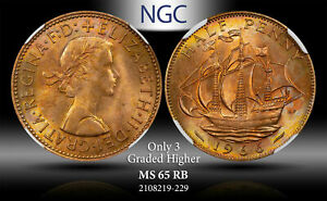 1966 GREAT BRITAIN 1/2 PENNY NGC MS 65 RB #C ONLY 3 GRADED HIGHER