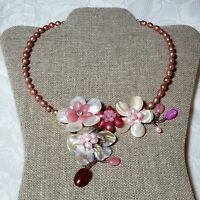 "Vintage Faux Pearl And Shell 18"" Pink Floral Necklace"