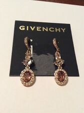 Givenchy Gold-Tone Multi-Crystal Oval Halo Double Drop Earrings  #32 GE