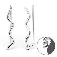 Sterling Silver 925 Zig Zag Wave Pierced Ear Cuff Earrings
