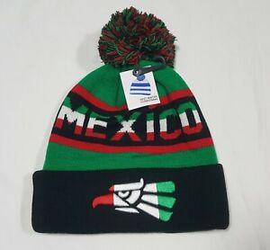 Icon Sports Men's Mexico Flag Knit Beanie Pom-Pom Green Winter Cap -Hat